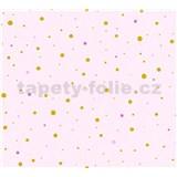 Detské vliesové tapety na stenu Little Stars bodky zlaté a ružové na ružovom podklade