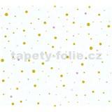 Detské vliesové tapety na stenu Little Stars bodky zlaté a ružové na bielom podklade