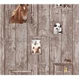 Detské vliesové tapety na stenu Little Stars zvieratá na hnedom drevenom podklade