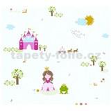 Detské vliesové tapety na stenu Little Stars princezná a žabka na bielom podklade