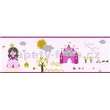 Detské vliesové bordúry Little Stars princezná a žabka na ružovom podklade