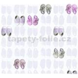 Detské vliesové tapety na stenu Little Stars papučky fialovo-ružové