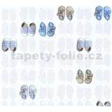 Detské vliesové tapety na stenu Little Stars papučky modro-hnedé