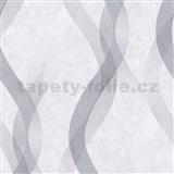 Vliesové tapety na stenu LIVIO vlnovky sivo-strieborné na sivom podklade