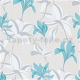 Vliesové tapety na stenu IMPOL Luna veľké lesklé kvety tyrkysovo -strieborné