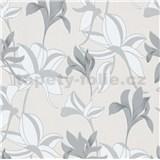 Vliesové tapety na stenu IMPOL Luna veľké lesklé kvety sivo-strieborné
