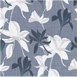 Vliesové tapety IMPOL Luna2 kvety modro-biele na modrom podklade so striebornou niťou