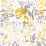 Vliesové tapety na stenu IMPOL Marbella kvety žlté na svetlo sivom podklade
