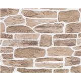Vliesové tapety Suprofil - kamenná stena - hnedý odtieň