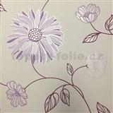 Vliesové tapety na stenu Summer Special kvety fialové na bielom podklade