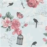 Vliesové tapety na stenu Zuhause Wohnen3 - Vintage Bird modré