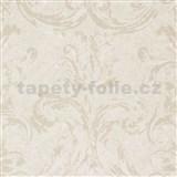 Vliesové tapety na stenu Zuhause Wohnen3 - damašek hnedo-biely na krémovom podklade
