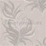 Vliesové tapety IMPOL Mata Hari pierka hnedé so striebornými detailmi na béžovom podklade