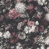 Vliesové tapety IMPOL Mata Hari kvetinová stena na tmavo hnedom podklade