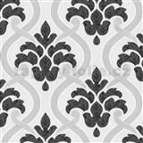 Vliesové tapety na stenu Memphis ornament sivo-čierny