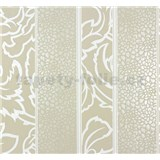 Vliesové tapety na stenu Messina pruhy - bielo-hnedé