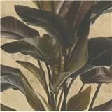 Luxusní vliesové tapety na stenu IMPOL Metropolitan Stories listy hnedé na zlatom podklade
