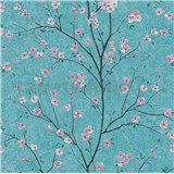 Vliesové tapety na stenu IMPOL Metropolitan Stories ružové sakury na tyrkysovom podklade