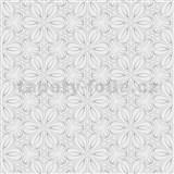 Vliesové tapety na stenu Mixing kvetinky vytláčané sivé