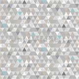 Vliesové tapety na stenu Modern trojuholníky sivo-modré so vzorom