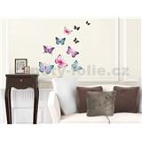 Samolepky na stenu farebné motýle, 50 x 32 cm