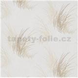 Vliesové tapety na stenu Natalia tráva hnedá na bielom podklade
