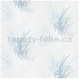 Vliesové tapety na stenu Natalia tráva modrá na bielom podklade
