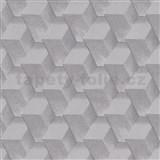 Vliesové tapety na stenu Natalia 3D kocky sivé s trblietkami
