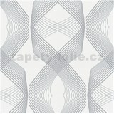 Vliesové tapety na stenu Natalia 3D geometrický vzor strieborný na bielom podklade