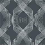 Vliesové tapety na stenu Natalia 3D geometrický vzor strieborný na čiernom podklade