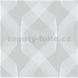 Vliesové tapety na stenu Natalia 3D geometrický vzor biely na sivom podklade