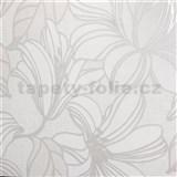 Vliesové tapety na stenu Natalia veľké kvety biele s hnedými kontúrami