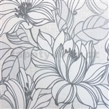 Vliesové tapety na stenu Natalia velké kvety so sivými kontúrami na bielom podklade