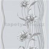 Vliesové tapety na stenu Natalia kvety sivé na podklade s vlnovkami