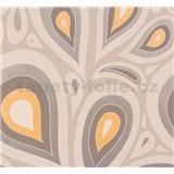 Vliesové tapety NENA kvapky oranžovo-strieborné