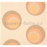 Vliesové tapety NENA moderné bubliny hnedo-oranžové