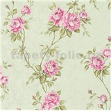 Vliesové tapety IMPOL Romantico popínavé ruže zeleno-ružové na zelenom podklade