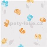 Vliesové tapety na stenu Nizza drobné kvietky modro-oranžové