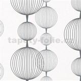 Vliesové tapety na stenu Alizé gule čierno-strieborné na bielom podklade
