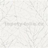 Vliesové tapety na stenu Belinda vetvičky krémové na bielej štruktúre