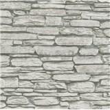 Vliesové tapety na stenu Belinda kameň ukladaný sivo-čierny