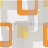 Vliesové tapety na stenu Novara moderné štvorce oranžové