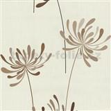 Vliesové tapety na stenu Novara kvety hnedé