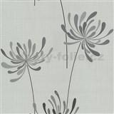 Vliesové tapety na stenu Novara kvety sivé