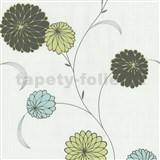 Vliesové tapety na stenu Novara kvety tyrkysovo modré