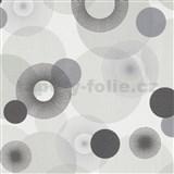 Vliesové tapety na stenu IMPOL Novara 3 lúčovité kruhy sivo-hnedé na bielom podklade