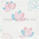 Vliesové tapety na stenu IMPOL Novara 3 kvety ružovo-modré na bielom podklade