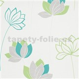 Vliesové tapety na stenu IMPOL Novara 3 kvety zeleno-sivé na bielom podklade