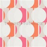 Vliesové tapety na stenu IMPOL Novara 3 korálkový vzor vzor ružovo-oranžový s trblietkami