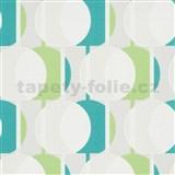 Vliesové tapety na stenu IMPOL Novara 3 korálkový vzor vzor zeleno-tyrkysový s trblietkami